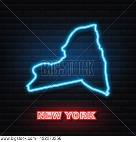 New York State Map Outline Animation. Neon Icon. Vector Illustration.