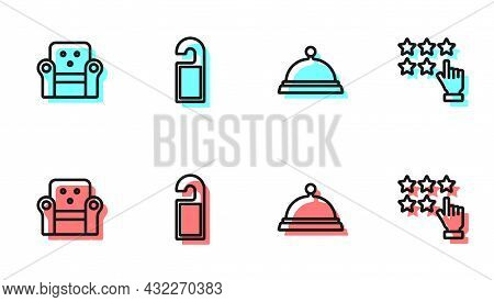 Set Line Covered With Tray Of Food, Armchair, Please Do Not Disturb And Stars Rating Icon. Vector