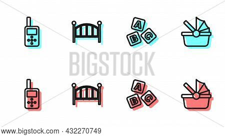 Set Line Abc Blocks, Baby Monitor Walkie Talkie, Crib Cradle Bed And Stroller Icon. Vector