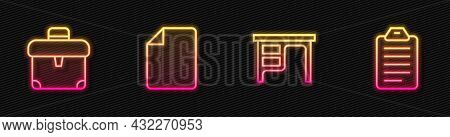 Set Line Office Desk, Briefcase, File Document And To List Or Planning. Glowing Neon Icon. Vector