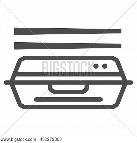 Bento Line Icon, Asian Food Concept, Japanese Lunchbox With Chopsticks Vector Sign On White Backgrou