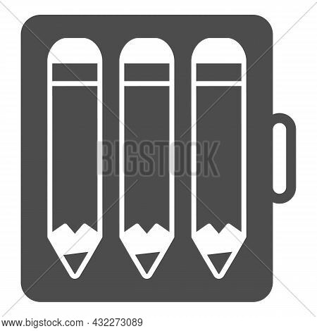 Pencil Case With Three Pencils Solid Icon, Stationery Concept, Writing Implements Vector Sign On Whi