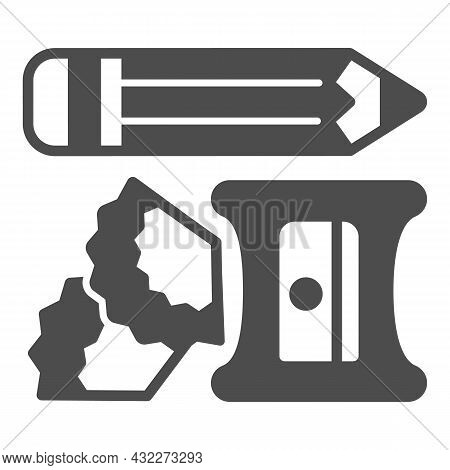Pencil, Sharpener And Shavings Solid Icon, Office Supplies Concept, Writing Implements Vector Sign O