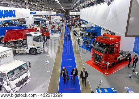 Trucks Kamaz And Buses Kamaz At The International Exhibition Of Commercial Transport Comtrans 2021.