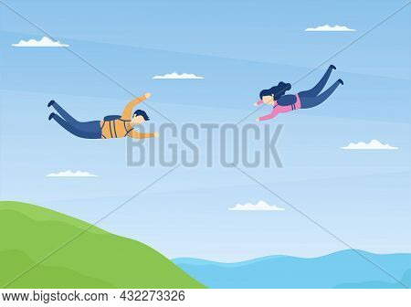 Skydive Is A Type Sport Of Outdoor Activity Recreation Using Parachute And High Jump In Sky Air. Cut