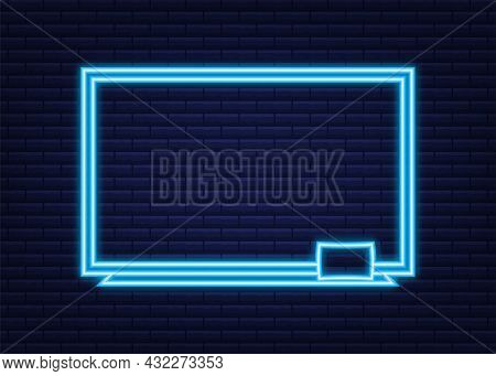 Realistic Office Whiteboard. Neon Icon. Empty Whiteboard With Marker Pens. Vector Stock Illustration