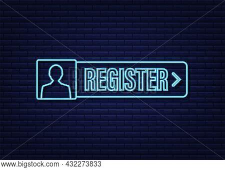 Blue Banner Register Now. Neon Icon. Vector Stock Illustration.