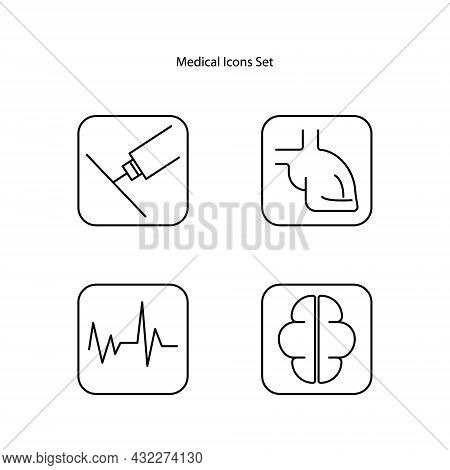 Medical Icons Set Outline Isolated On White Background. Medical Icons Sign. Medical Icons Vector.