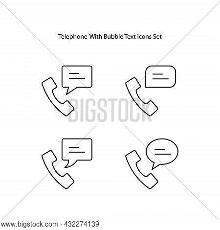 Telephone Icons Set Isolated On White Background. Telephone Icon Thin Line Outline Linear Telephone