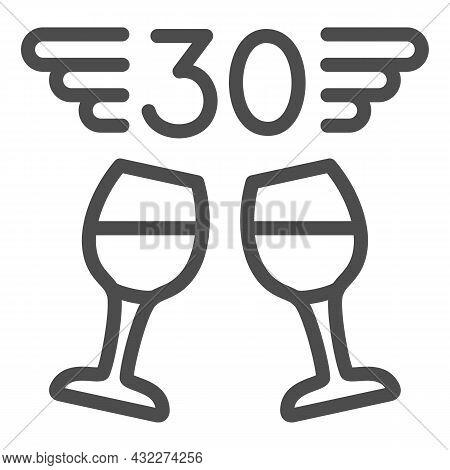 Two Wine Glasses And Number 30 With Wings Line Icon, Anniversary Concept, Thirty Vector Sign On Whit
