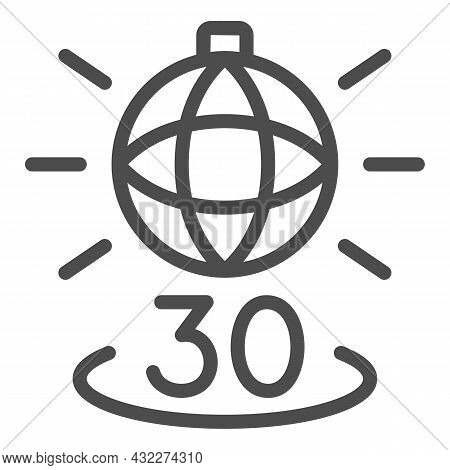 Disko Ball Shining And Number 30 Line Icon, Anniversary Concept, Party Over Thirty Vector Sign On Wh