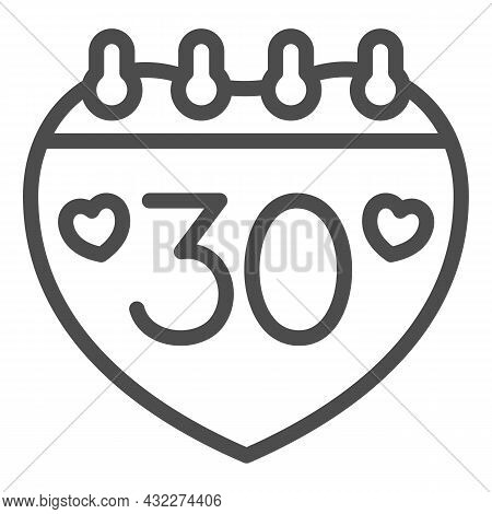 Calendar With Number 30 And Two Hearts Line Icon, Anniversary Concept, Day Thirty Vector Sign On Whi