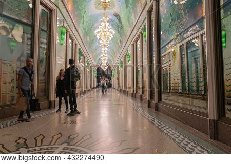Amsterdam Netherlands - August 17 2017; Ornately Decorated Beurs Oersoep Passageway In Damrak Area O