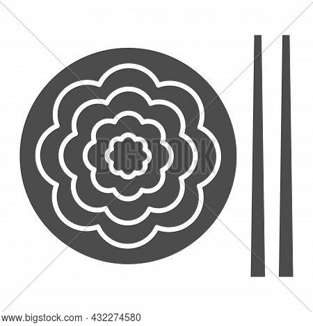 Fried Yakisoba Noodles Solid Icon, Asian Food Concept, Chinese Noodle Stir Fry Dish Vector Sign On W