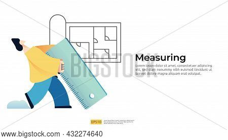 Construction Planning For House Project Concept With People Character Use Giant Ruler For Area Measu