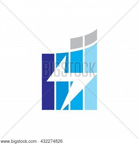 Abstract Thunder Building Logo Icon Flat Vector Concept Graphic Simple Stylish Design
