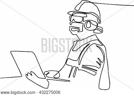 Girl Construction Engineer At Construction. Industry Maintenance Engineer Woman Wearing Uniform And