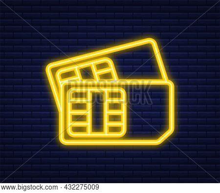 Vector Mobile Cellular Phone Sim Card. Neon Icon. Vector Illustration.