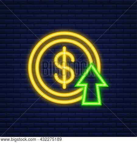Profit Money Or Budget. Cash And Rising Graph Arrow Up, Concept Of Business Success. Neon Style. Vec