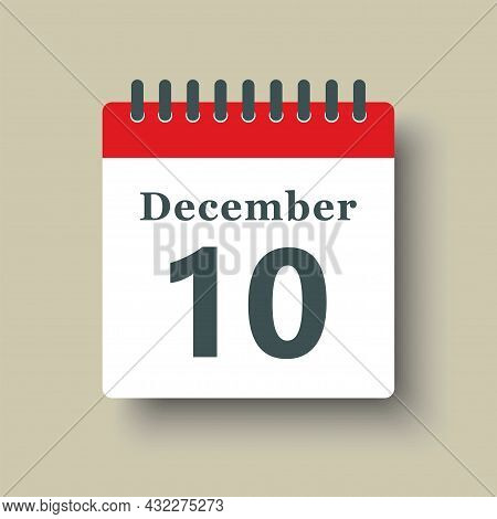 Icon Day Date 10 December, Template Calendar Page