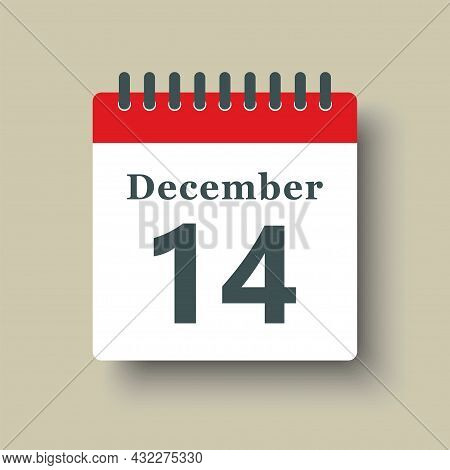 Icon Day Date 14 December, Template Calendar Page