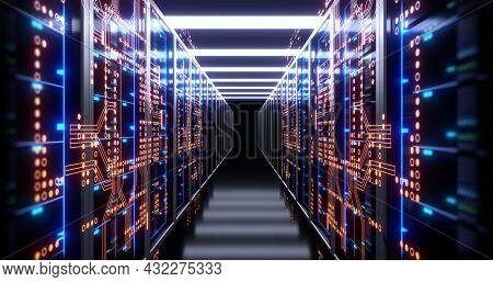 3d Illustration Of Server Room In Data Center Full Of Telecommunication Equipment,concept Of Big Dat
