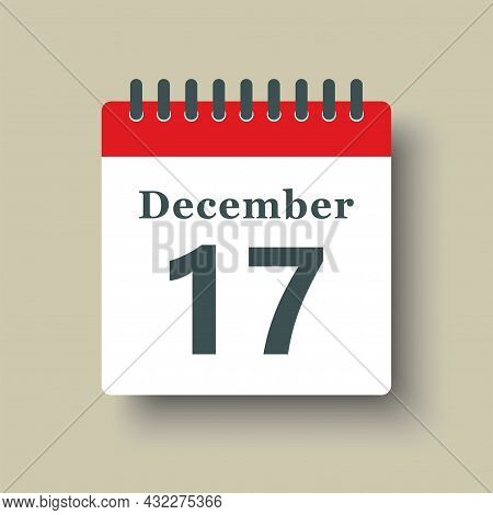 Icon Day Date 17 December, Template Calendar Page