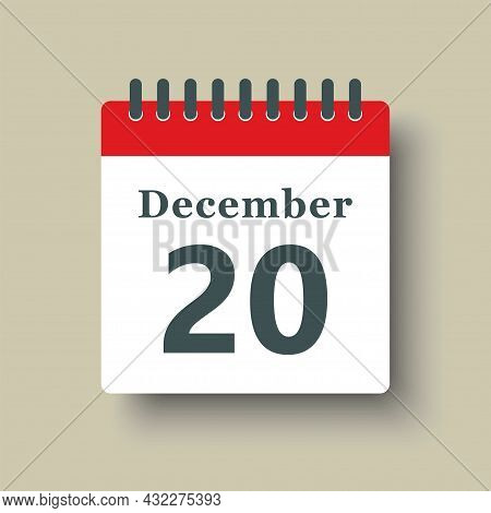Icon Day Date 20 December, Template Calendar Page