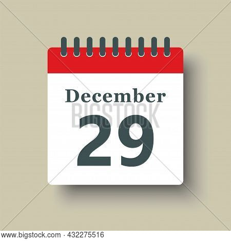 Icon Day Date 29 December, Template Calendar Page