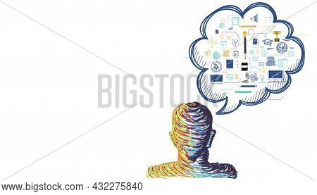 Human Head.design Painting Art  Idea And Concept Think With  Plan,think,search,analyze,communicate,
