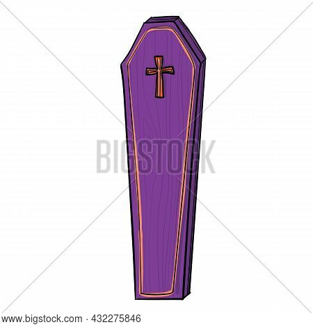 Vector Illustration With Purple Coffin. Can Be Used As Halloween Decoration