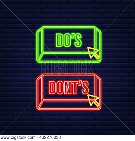 Dos And Donts Neon Button. Flat Simple Thumb Up Symbol Minimal Round Logotype Element Set. Vector Il