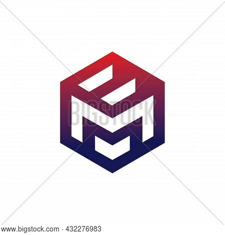 Letter M And E Polygon Logo Icon Flat Vector Concept Graphic Simple Stylish Design