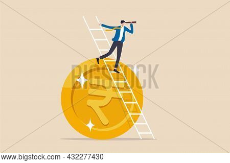 India Economic Or Financial Vision, Investment And Stock Market Forecast Or Business Profit Concept,