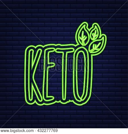 Ketogenic Diet Logo Sign. Keto Diet. Neon Icon. Vector Illustration.