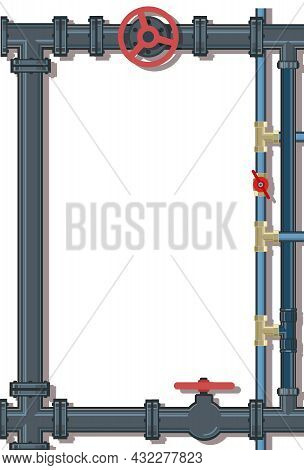 Water Fittings. Pipeline For Various Purposes. Frame With A Place For The Text About The Service. Il