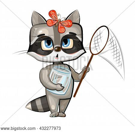 Baby Raccoon Catch With A Net Butterflies. Characters Of Child Stand. Funny Scenery. A Young Animal.