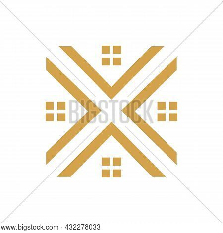 Letter X Home Residence Real Estate Logo Icon Flat Vector Concept Graphic Simple Stylish Design