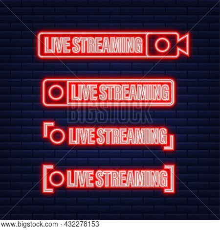 Set Of Live Streaming Icons. Broadcasting. Red Symbols And Buttons Of Live Stream, Online Stream. Ne