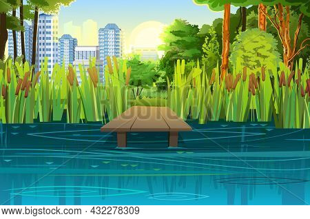Pier For Fishing On Coast Of River Or Lake. Wild Pond. Summer Landscape. City In The Distance. Out-o