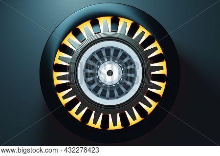 3d Rendering Future Engine Rocket Turbine Technology Under  Light.  Futuristic Part Of A Spacecraft