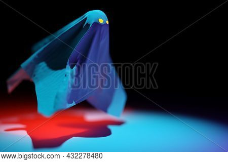 3d Illustration Black Ghost With Eyes Glowing In Ominous Red For Halloween On A Dark Background. 3d