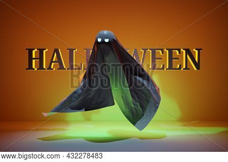 3d Illustration Black Ghost With Eyes Glowing In Ominous Green For Halloween On A Yellow Background.