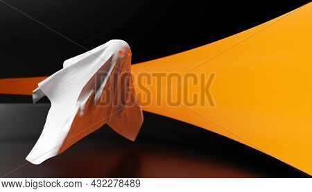 3d Illustration White Ghost With Eyes Glowing  For Halloween On A Dark Background. 3d Illustration O