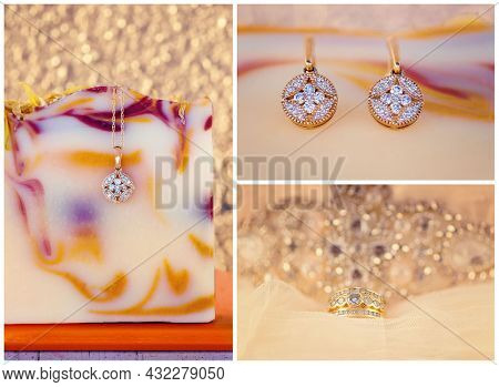 Collage Of Diamond Pendant, Earrings And Ring Against A Background Of Soap And Lace
