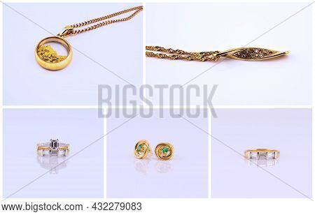 Collage Of Gold Pendants, Rings And Earrings, Jewelry On A Pale Colored Background