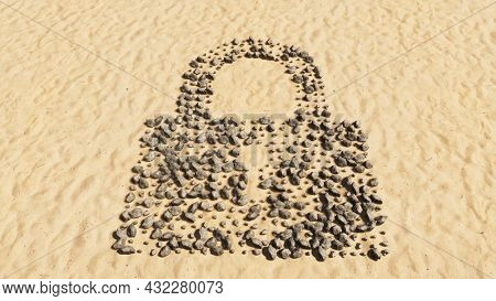 Concept or conceptual stones on beach sand handmade symbol shape, golden sandy background, padlock icon. 3d illustration metaphor for communication, encryption, security, privacy and technology