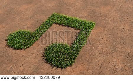 Concept or conceptual green summer lawn grass symbol shape on brown soil or earth background, music sign. 3d illustration metaphor for melody, tempo, multimedia, composition, harmony or classic sound