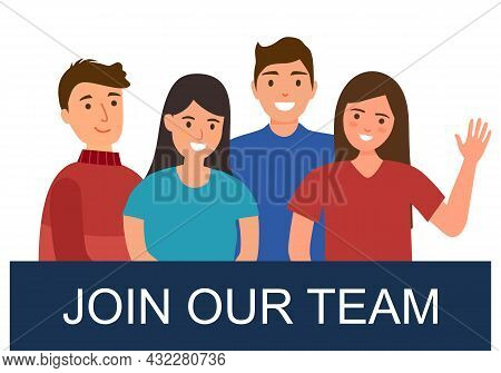 People With Join Our Team Sign In Flat Design. Hiring And Employment Concept.
