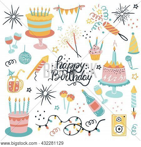 Vector Set For Your Birthday. Elements In The Cartoon Style. Firecrackers, Cakes, A Bottle Of Champa